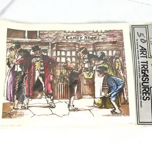 Vintage 1960/1970's Dickens Christmas Litho New